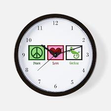 Peace Love Geckos Wall Clock
