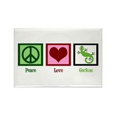 Peace Love Geckos Rectangle Magnet