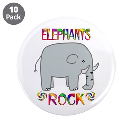 """Elephant 3.5"""" Button (10 pack)"""