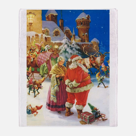 Santa Claus at the North Pole Throw Blanket