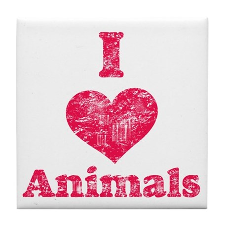 Vintage I Heart Animals Tile Coaster