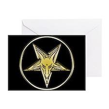 Inverted Goat Head Pentagram Greeting Card