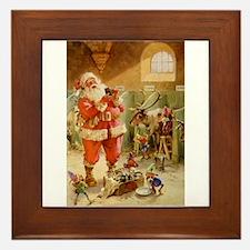 Santa in the Reindeer Stables Framed Tile