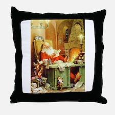 Santa Claus Makes His List Throw Pillow