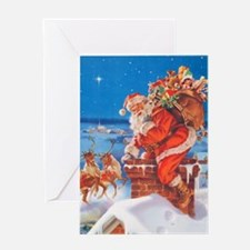 Santa Up On The Rooftop Greeting Card