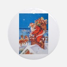 Santa Up On The Rooftop Ornament (Round)