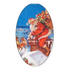 Santa Up On The Rooftop Bumper Stickers