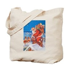 Santa Up On The Rooftop Tote Bag