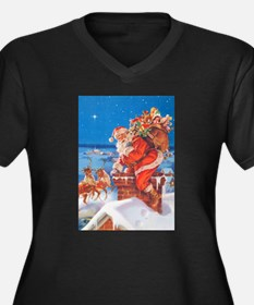 Santa Up On The Rooftop Women's Plus Size V-Neck D