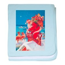 Santa Up On The Rooftop baby blanket