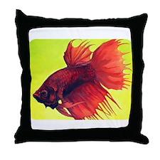 <b>Red Crowntail Betta</b> Throw Pillow