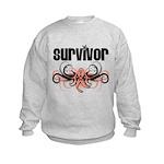 Survivor Uterine Cancer Kids Sweatshirt