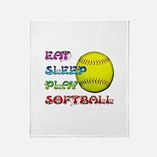 Eat Sleep Play Softball 3 Throw Blanket