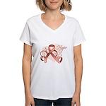 Hope Uterine Cancer Women's V-Neck T-Shirt