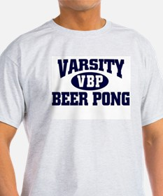 VARSITY BEER PONG FUNNY COLLE Ash Grey T-Shirt