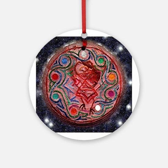 Bird-Masked Dancer Ornament (Round)