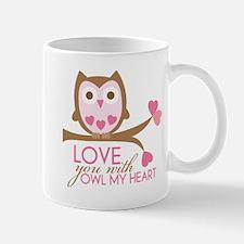 Love you with owl my heart Small Small Mug