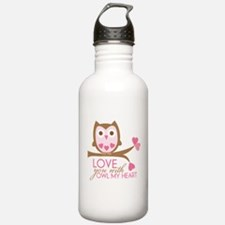 Love you with owl my heart Water Bottle