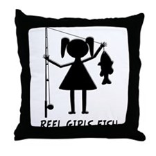 Reel Girls Fish Throw Pillow