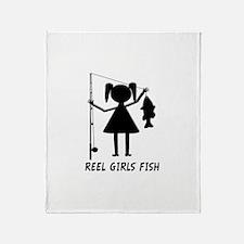 Reel Girls Fish Throw Blanket
