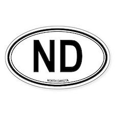 North Dakota (ND) euro Oval Decal