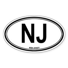 New Jersey (NJ) euro Oval Decal