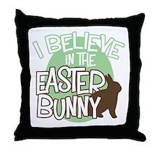 Believe Easter Bunny Throw Pillow
