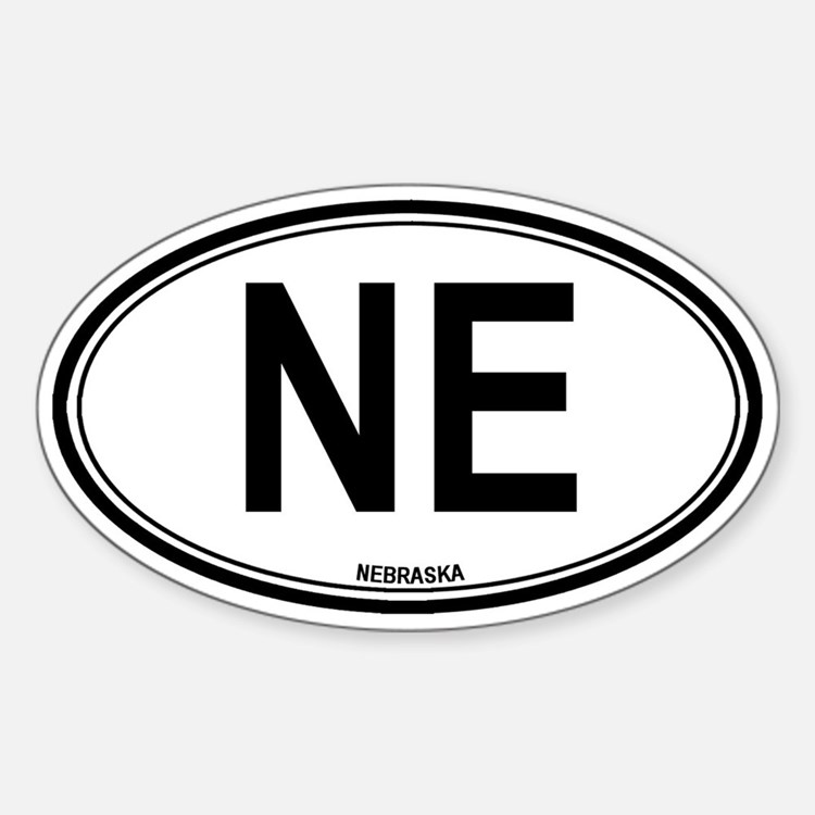Nebraska (NE) euro Oval Decal