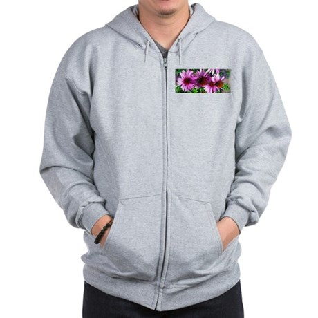 Row of Echinacea Flowers Zip Hoodie