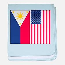 Philippine Flag & US Flag baby blanket