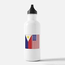 Philippine Flag & US Flag Water Bottle