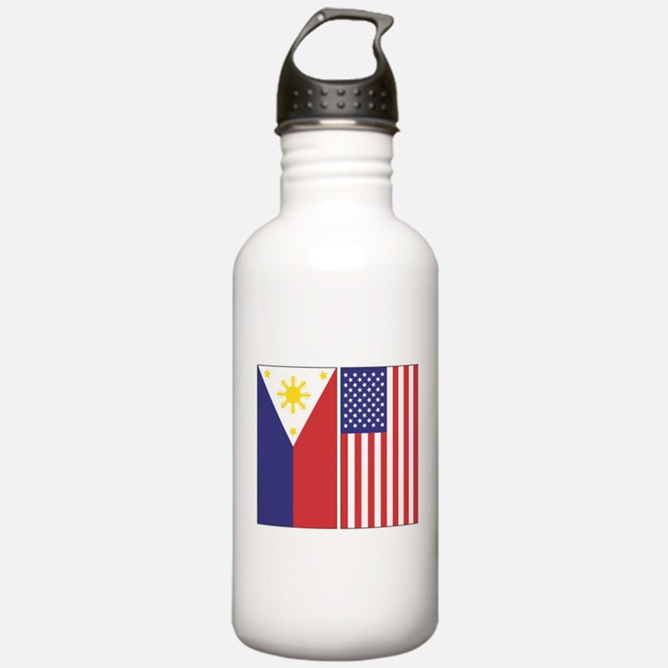 Philippine Flag & US Flag Water Bottle
