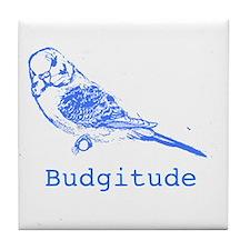 Cool Blue parakeet Tile Coaster