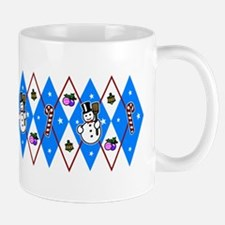Blue & Red Argyle Mug
