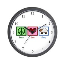 Peace Love Sheep Wall Clock