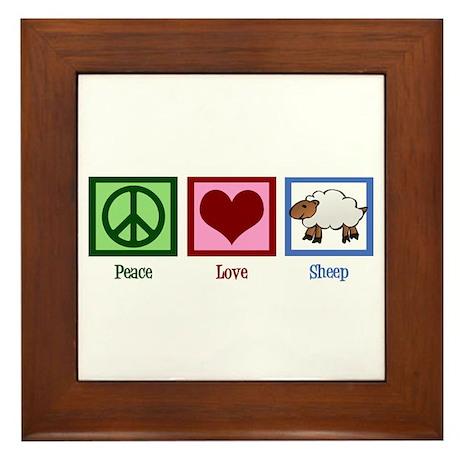 Peace Love Sheep Framed Tile