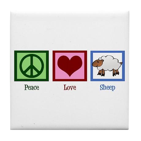 Peace Love Sheep Tile Coaster