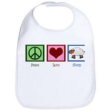 Peace Love Sheep Bib