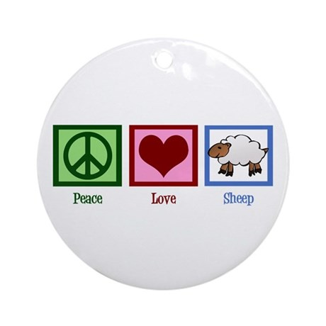 Peace Love Sheep Ornament (Round)