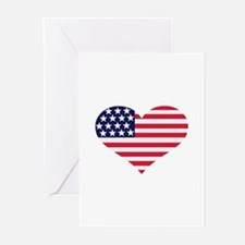 US flag heart Greeting Cards (Pk of 10)