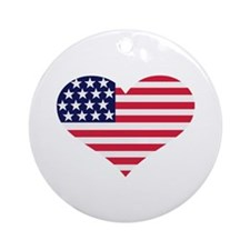 US flag heart Ornament (Round)