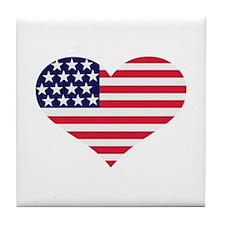 US flag heart Tile Coaster