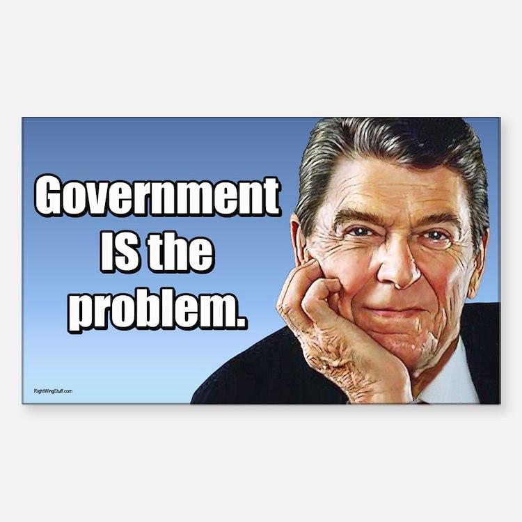 Reagan - Gov't. is the Problem Sticker (Rectangle)