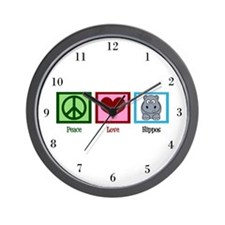 Peace Love Hippos Wall Clock