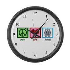 Peace Love Hippos Large Wall Clock