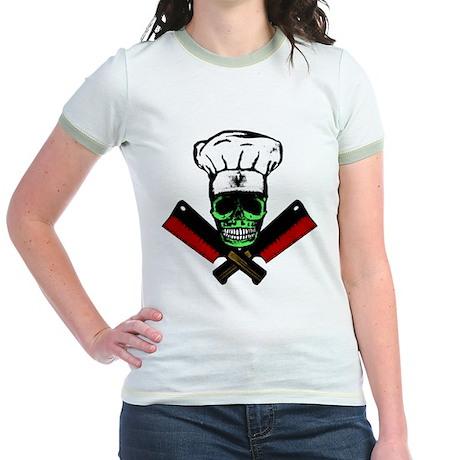 Chef Skull--Green Jr. Ringer T-Shirt