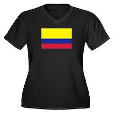 Colombia flag Women's Plus Size V-Neck Dark T-Shir