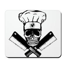 Chef Skull--B&W-- Mousepad