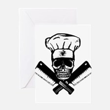 Chef Skull--B&W-- Greeting Card