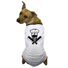 Chef Skull--B&W-- Dog T-Shirt